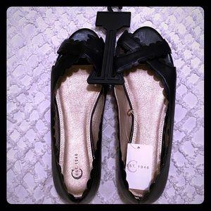 Cato Black Peep Toe Scallop Flats Size 10